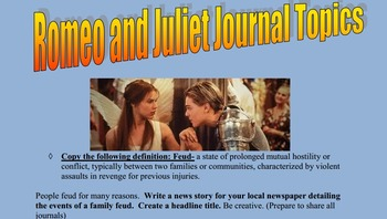 Romeo and Juliet Creative Bell Ringers Journals