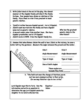 Romeo and Juliet Cross Curricular Activity Book (8th Grade)