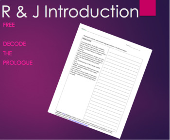 FREE- Romeo and Juliet Introduction: Decode the Prologue