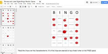 Romeo and Juliet Digital Bingo Review Game