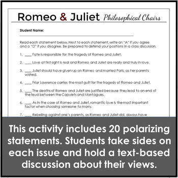 Romeo and Juliet Discussion Philosophical Chairs Activity