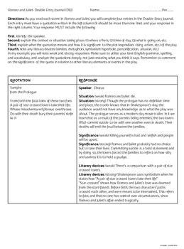 Romeo and Juliet Double-Entry (Dialectical) Journal Template