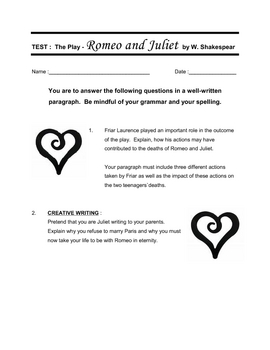 Romeo and Juliet ENGLISH test