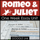 Romeo and Juliet Essay Unit with Lesson Plans, Writing Activities & Google Link