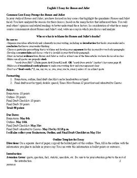 Romeo and Juliet Essay Assignment Sheet