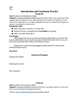 romeo and juliet essay practice introductions conclusion paragraphs original  jpg