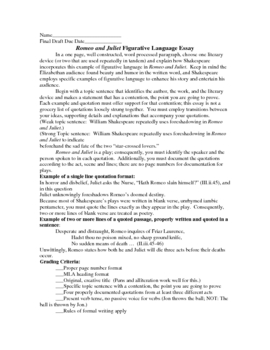 Romeo and Juliet Figurative Language One Paragraph Essay