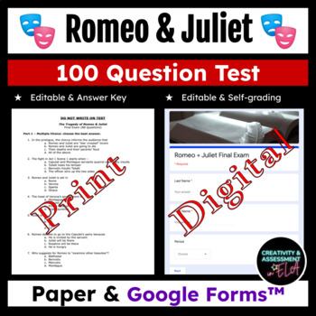 Romeo and Juliet Final Exam Test - 89 Questions