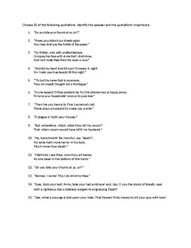 Romeo and Juliet Final Quote Identification Quiz