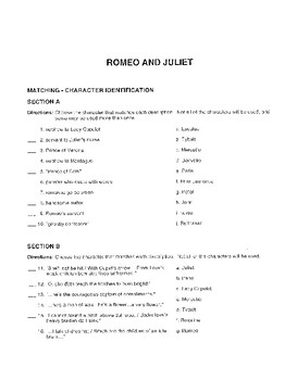 Romeo and Juliet Final Test *William Shakespeare*