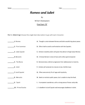 Romeo and Juliet Formal Assessments