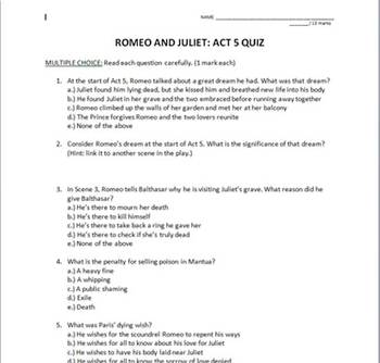 Romeo and Juliet Full Play Quiz Set With Answer Keys