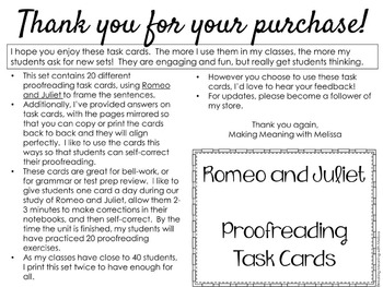 Romeo and Juliet - Grammar Proofreading Task Cards, Warm Up, Review