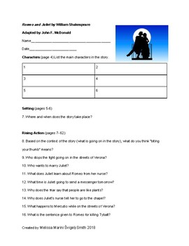 Romeo and Juliet Graphic Novel adapted by JF McDonald Guided Reading