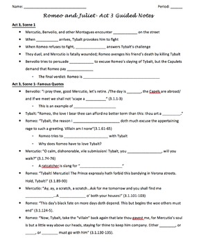 Romeo and Juliet- Guided Notes Handouts on All 5 Acts