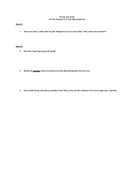 Romeo and Juliet Guided Reading/Post Read/Activities