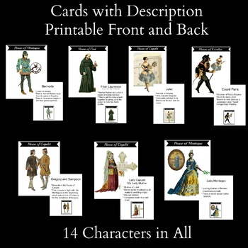 Romeo and Juliet Houses of Verona Character Cards