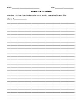 Romeo and Juliet In-Class Essay Sheet