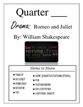 Romeo and Juliet Interactive Student Notebook Pages (Anti Guide & Act Cover Pgs)