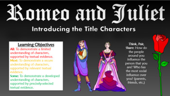 Romeo and Juliet: Introducing the Main Characters (Act I Scenes I-IV)