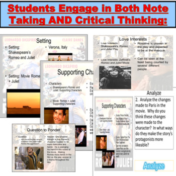 Romeo and Juliet JUMBO PowerPoint: Film Guide for New and Old Versions