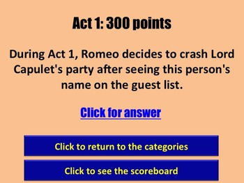 Romeo and Juliet Jeopardy Review Game for PowerPoint