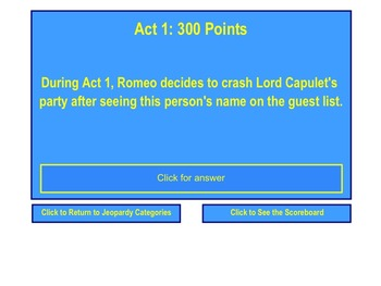 Romeo and Juliet Jeopardy Review Game for SMART Notebook