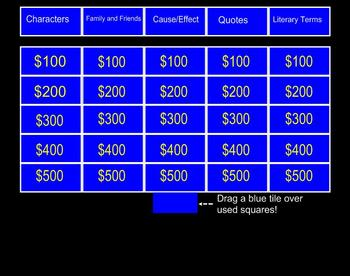 Romeo and Juliet Jeopardy for Smartboard