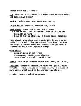 Romeo and Juliet Lesson Plan Act 1 Scene 2