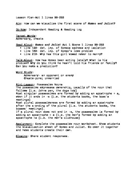 Romeo and Juliet Lesson Plan Lines 99-233