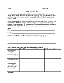 Romeo and Juliet Lesson Plan: Staging the Play