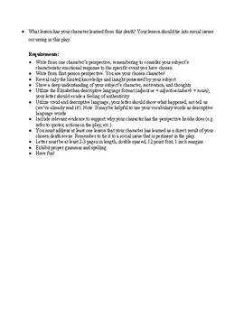 Romeo and Juliet Letter Assignment