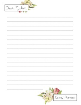 Romeo and Juliet Love Letter Activity (Perfect for Valentines)