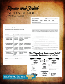 Romeo and Juliet MEGA Bundle! All Acts Packets, Essay Planning, & More!
