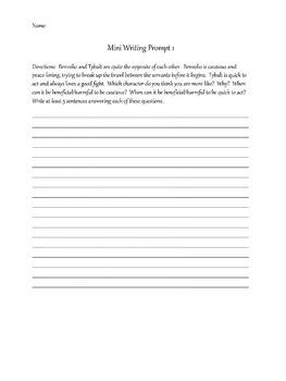Romeo and Juliet Mini Writing Prompts