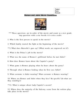 Romeo and Juliet Movie Quiz