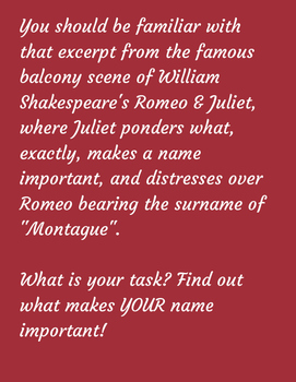 Romeo and Juliet Name Etymology Project