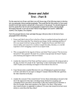 Romeo and juliet one paragraph essay test by carpe librum tpt