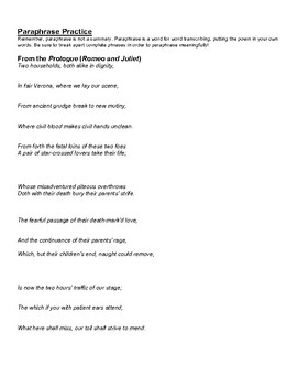 Romeo and Juliet: Paraphrasing Practice
