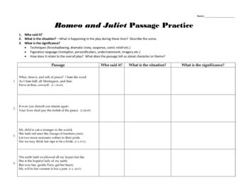 Romeo and Juliet: Passage Practice