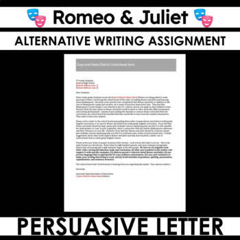 Romeo and Juliet Persuasive Letter - in Defense of Shakespeare?