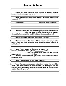Romeo and Juliet Plot Questions