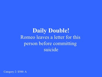 Romeo and Juliet PowerPoint Game