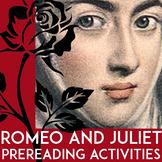 Romeo and Juliet Pre Reading Activities | Romeo and Juliet Prereading | Writing