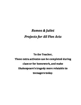 Romeo and Juliet Projects for All 5 Acts