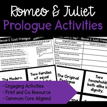 Romeo and Juliet Prologue Activities