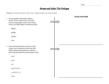 Romeo and Juliet Prologue Language Activity