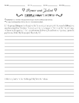 Romeo and Juliet Prologue Reader's Response Worksheet