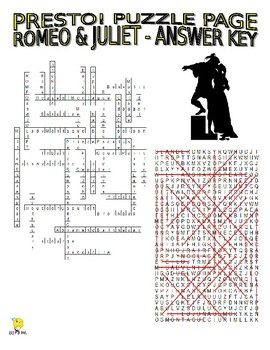 Romeo and Juliet Puzzle Page (Wordsearch and Criss-Cross)