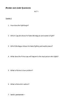 Romeo and Juliet Questions